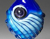 Michael Barley Handmade Glass Bead:  Blue Twist Bead