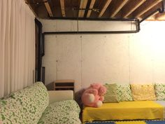 create a hangout in your unfinished basement  home ideas