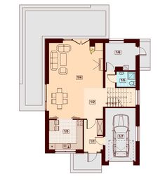 DOM.PL™ - Projekt domu DN DIONA BIS CE - DOM PC1-37 - gotowy koszt budowy Architectural House Plans, Malaga, Floor Plans, How To Plan, Case, Home Plans, Little Cottages, Floor Plan Drawing, House Floor Plans