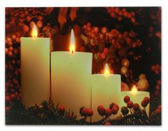Amazon.com: Lighted Picture - Canvas Wall Art with Flickering LED Lights - Red Holly and 4 Pillar Candles - LED Canvas Print: Posters & Prints