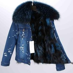 Real Fox Fur Lining Denim Jacket Coat Women Winter Coat Jacket Denim, 38 / S