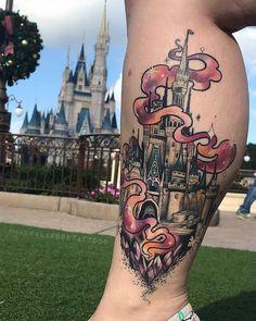 Disney Land Castle tattoo by Makkala Rose