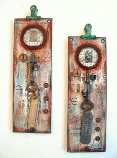 Von Pappe II - Remembering 2013  -  two wall hangings where I used found objects on