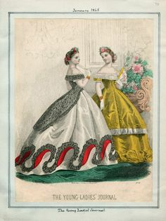 1865. evening dresses, The Young Ladies' Journal, January