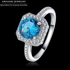 Zirconia Blue Stone Square Engagement Ring //Price: $10.95 & FREE Shipping //     #hashtag1