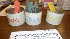 Lots of good ideas here. Parts of Speech Cans. Make and record sentences while teaching parts of speech! Pick a stick of each color and make a silly sentence! Kindergarten Writing, Teaching Writing, Teaching Tools, Teaching Resources, Teaching Ideas, Teaching Grammar, Writing Resources, Kids Writing, Writing Ideas