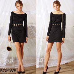ROMWE Heart-shaped Hollow Black Dress #ROMWEROCOCO