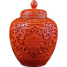 Chinese cinnabar lacquer ginger jar with lid circa 1900