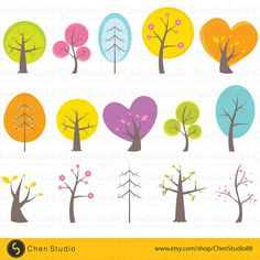 Cute tree vector Digital Clipart Instant by ChenStudio88 on Etsy