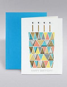 Glitter Cake Birthday Card