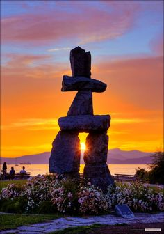 Inukshuk Sunset in English Bay, Vancouver, British Columbia Victoria Canada, Beautiful Sunset, Beautiful World, Beautiful Places, Amazing Places, Alaska, The Places Youll Go, Places To Go, Vancouver British Columbia