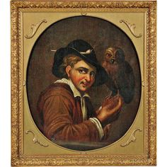 German School Century Oil Painting of a Renaissance Man with an from revival-house-antiques on Ruby Lane Renaissance Men, Nature Paintings, Ruby Lane, Oil On Canvas, 19th Century, Mona Lisa, German, Owl, Antiques