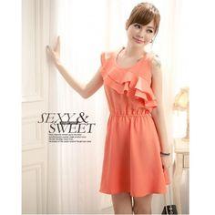 Red Chiffon Korean Style Women Round Neck Sleeveless Dress One Size... ($7.89) via Polyvore