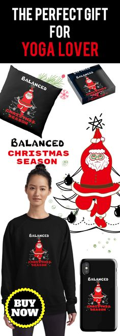 Yoga Funny Santa Claus Balanced Christmas Season.  The Best Way To Spread Christmas Cheers.  Check here for your next sweater to wear to an ugly Christmas sweater party.  (Also available in mugs, cups, shirts, duvet covers, acrylic block, purse,  wallet, iphone cases, baby onsies, clocks, floor pillows, samsung cases and pencil skirts.) #YogaLover  #Christmasgifts #Momfit  #Funnyyoga #FunnySantaClaus  #giftideas #yogalover #fitnessgift