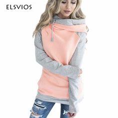 ELSVIOS 2017 Double hood hoodies sweatshirt Women Autumn Long Sleeve side zipper Hooded Casual Patchwork Hoodies Pullover femme