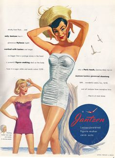 412f2ac33d53f 1950s Jantzen Swimwear Ad. Latex Power. That s what I need! Vintage  Advertising Posters