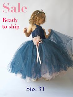 Ankle Length Double Layered Puffy Tutu Dress. Ready to ship. Sale. Navy and Pink tulle dress.