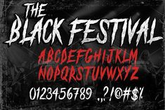 New free font 'The Black Festival_DEMO' by KnackpackStudio · Free for personal use · Pretty Fonts, Beautiful Fonts, Cool Fonts, Horror Font, Cursive Fonts, Handwriting Fonts, Title Font, Protest Signs, Retro Font