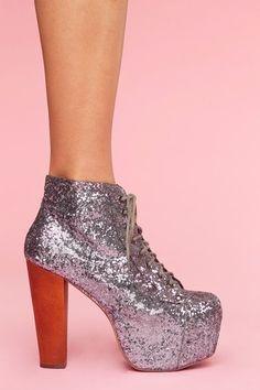 519aadb30106   More Sparkles   Jeffrey Campbell Lita Platform Boot in Pewter Glitter.  Sock ShoesCute ...