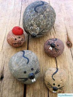 sten, natur, stenar, målade stenar, naturfynd, mus, möss, rätta, råttor, handverk, home made ::