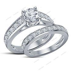 1.79 Carat Round D/VVS1 Prong Set Channel Shank Women Bridal Engagement Ring Set #Aonedesigns
