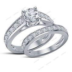 1.79 Carat Round D/VVS1 Prong Set Channel Shank Women Bridal Engagement Ring Set #Aonedesigns