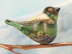 Bird bead Handmade lampwork glass bird pendant by glassdaft, £20.00