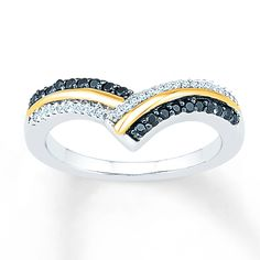 Stripes of sterling silver adorned with white diamonds and Artistry Black Diamonds® alternate with stripes of 10K yellow gold, coming to a point in this gorgeous ring for her. The ring totals 1/4 carat in diamond weight. Artistry Black Diamonds®