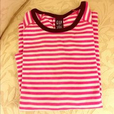 Pretty GAP Striped Top  Very pretty GAP Top. Stripes of pinks with bands of navy blue. 3/4 sleeve. In fine gently worn condition. Size XL GAP Tops