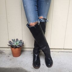 Black Knee High Fry Boots ! Lightly worn black leather over the knee Frye boots. Can wear them up or folded over. Two inch stacked heel with leather buckle accent. Fits a true size 7. Frye  Shoes Over the Knee Boots