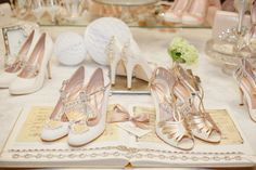 Our wonderful Eva shoes (left) and Leila Gold shoes right. At a recent press display. www.emmylondon.com