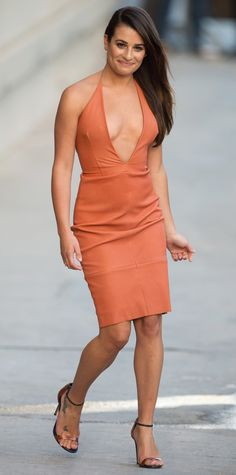 Lea Michele took the plunge for her appearance on Jimmy Kimmel Live in a  burnt orange 0ad367611
