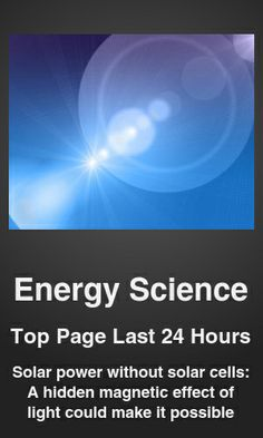 Top Energy Science link on telezkope.com. With a score of 173. --- Solar power without solar cells: A hidden magnetic effect of light could make it possible. --- #energyscience --- Brought to you by telezkope.com - socially ranked goodness