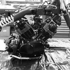 have been working on this project for about a month now and coming along smoothly (famous last words) i guess its more of a cafe bobber everything mocked up. Virago Cafe Racer, Yamaha Cafe Racer, Yamaha Virago, Cafe Bike, Yamaha Motorcycles, Custom Cafe Racer, Cafe Racer Build, Motorcycle Engine, Motorcycle Garage