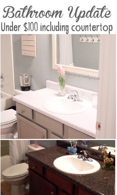 Bathroom Update for under $100 including DIY Faux Marble Countertops #modernfarmhousebathroom #bathroomupdate