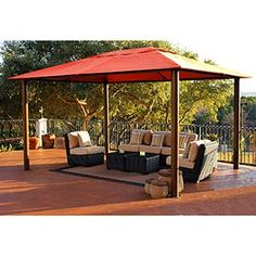 Valencia 10' x 13' Soft Top Gazebo  Powder-coated Aluminum and Steel Frame with Sunbrella® Fabric Top  Item # 639710  Be the first to write a review.  Share this Product:       $1,099.99  Valencia 10' x 13' Soft Top Gazebo