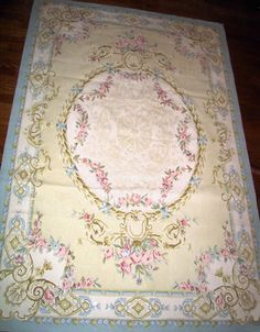 The Catherine Aubusson Rug from The French Market Collection is a floral rug in a palette of pink, sage and aqua. Size: 4 x 6 feet $864 ~ cottagestyleliving.com