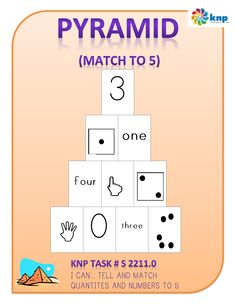 """Pyramid (Match to 5)"" - Tell and match amounts and numbers up to 5. Supports learning Common Core Standards: K.OA.5, K.CC.3, K.CC.4, K.CC.5 [KNP Task # S 2211.0]"