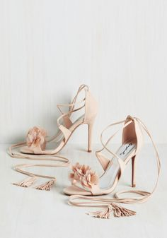 Tassel Tango Heel in Beige - Solid, Flower, Tassels, Wedding, Daytime Party, Graduation, Bridesmaid, Bride, Wedding Guest, Summer, Good, Lace Up, Variation, Neutral, High, Blush, Special Occasion
