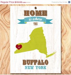 ON SALE Buffalo New York USA Map Art Poster Print by GraceHouseArt, $12.95
