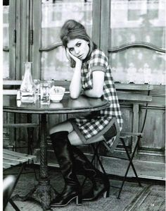 Celebrities in Boots: Clémence Poésy in Knee High Boots. Vogue US, Clémence Poesy, French Cafe, Vogue Us, Cafe Style, Paris Cafe, Fashion Photography Inspiration, Boho, Retro Fashion, Sixties Fashion