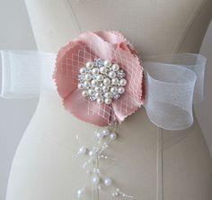 Bridal Sash Wedding Belt Floral  Blush Pink Flower by gebridal, $45.00 @Four Seasons Bridal