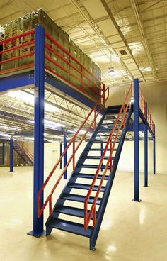 Steel Mezzanine With Lighting Below for Warehouse Storage Warehouse Shelving, Warehouse Office, Warehouse Design, Building A Storage Shed, Mezzanine Floor, Flooring For Stairs, Metal Stairs, Small Entryways, Storage Facility