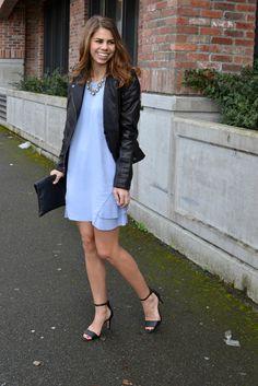 periwinkle ruffle dress, leather jacket | fishbowl fashion