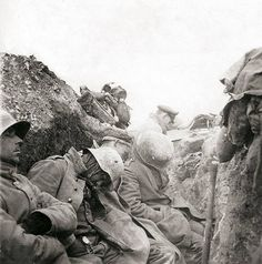Western Front 1916. break in the fighting in the German shooters graves. The soldiers fall asleep on the spot.