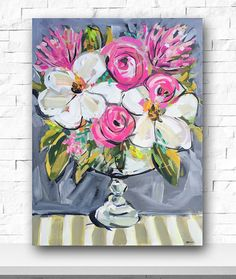 Impressionist Art Acrylic Painting Original Canvas Art Peonies Roses Abstract Floral Flower Pink Painting Impressionist Art