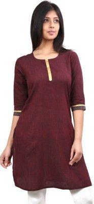 Avignya Casual 3/4 Sleeve Solid Women's Kurti - Buy Maroon Avignya Casual 3/4 Sleeve Solid Women's Kurti Online at Best Prices in India | Flipkart.com