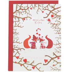 Christmas mistletoe kisses foxes card