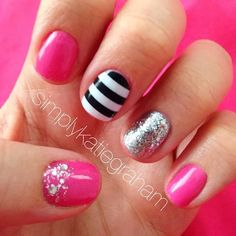 Easy DIY nails... no chipping or smudges! Valentines nails! Pink, glitter, and stripes.