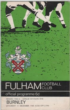 Vintage Football Programme - Fulham v Burnley, 1965/66 season